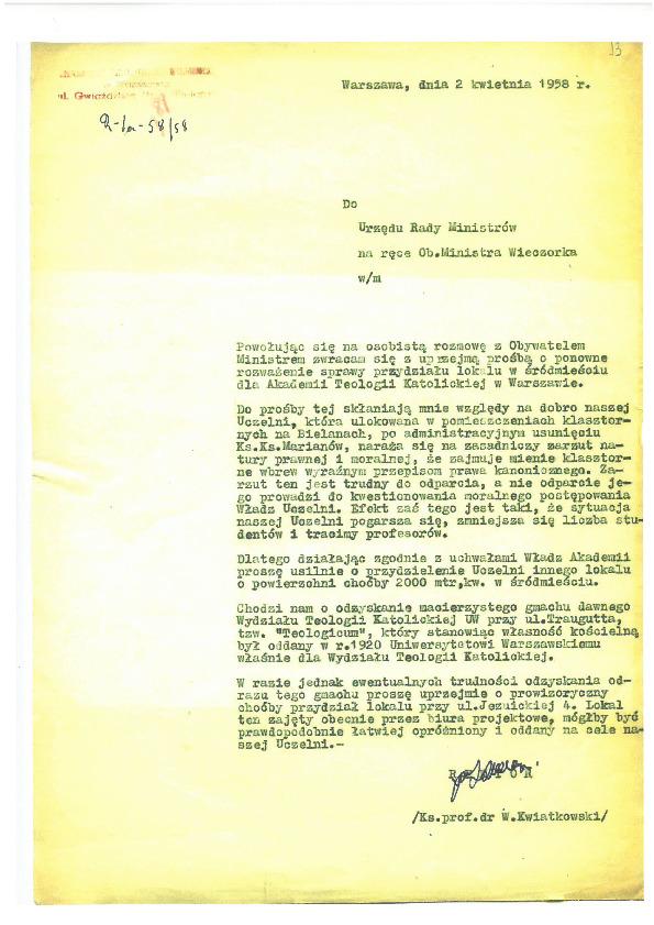 List Rektora nr 1