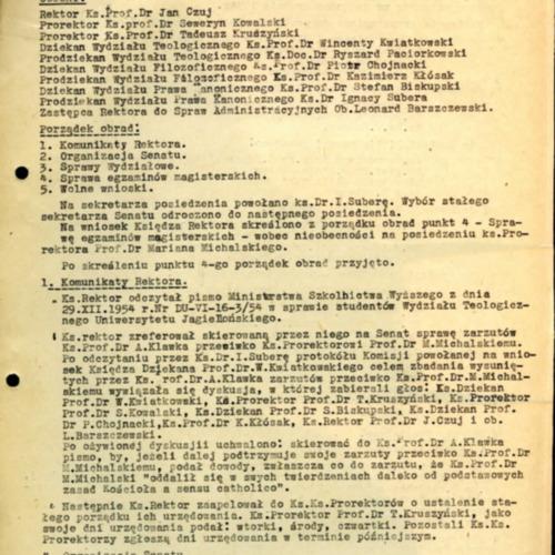 Protokół z posiedzenia Senatu Akademii Teologii Katolickiej