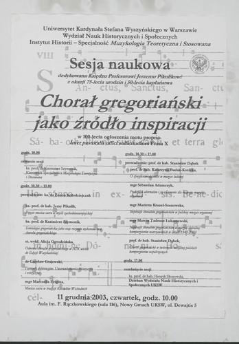 Chorał Gregoriański jako źródło inspiracji