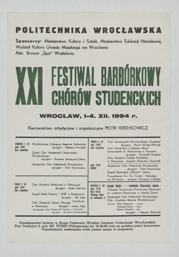 XXI Festiwal Barburkowy Chórów Studenckich